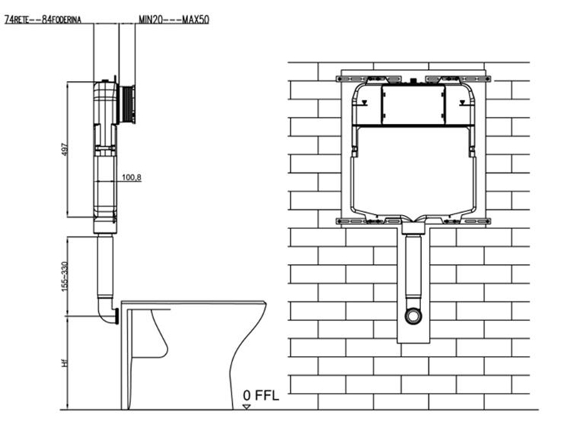 concealed cistern tank